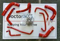 RED Silicone Hose Kit Mazda MX5 Eunos Roadster MK1 1.8 1993 - 1998 - 9 Hoses & Clips
